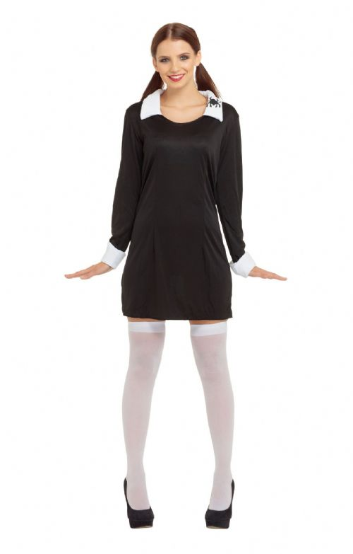 Ladies Creepy School Girl Costume Spooky Frightening Scary Halloween Fancy Dress